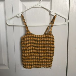 Yellow and Black plaid crop top from Hollister